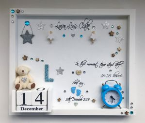 New Baby Unique Personalised Gift Box Frame Photo Frame No Glass Blue Keepsake Gift boy